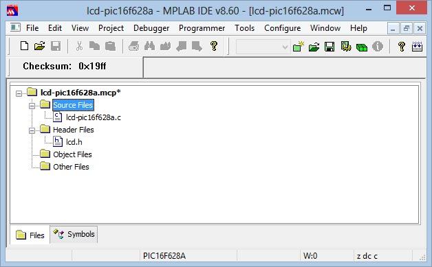 configuração mplab source files