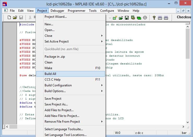 configuração mplab build all