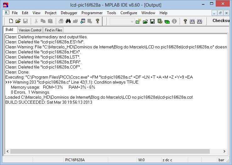 configuração mplab Build Succeeded