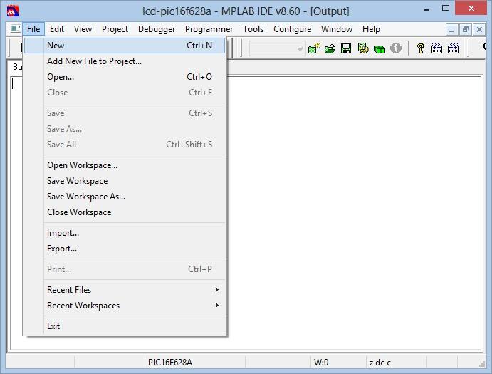configuração mplab file new