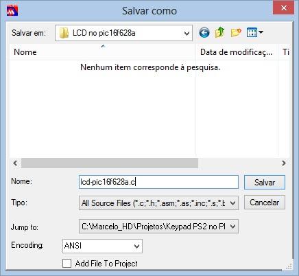 configuração mplab salvar como