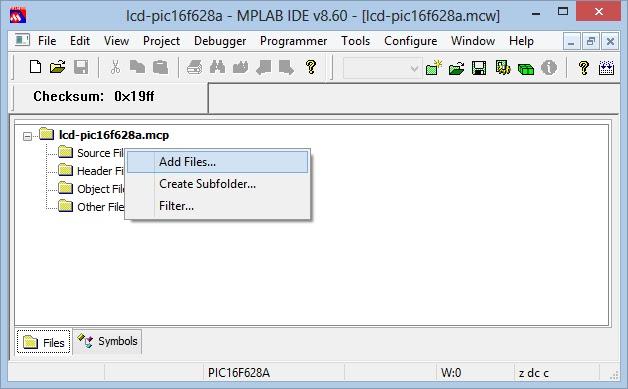 configuração mplab add files